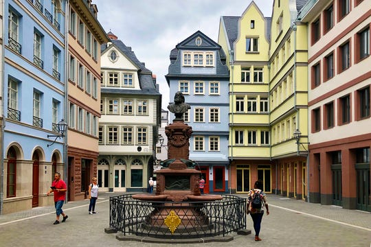 """Frankfurt's """"new"""" Old Town, called the DomRömer Quarter, is a reconstruction of the half-timbered historic district destroyed during World War II."""