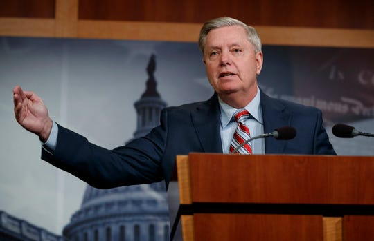 Sen. Lindsey Graham, R-SC., speaks during a news conference on Capitol Hill in Washington, Monday, March 25, 2019.