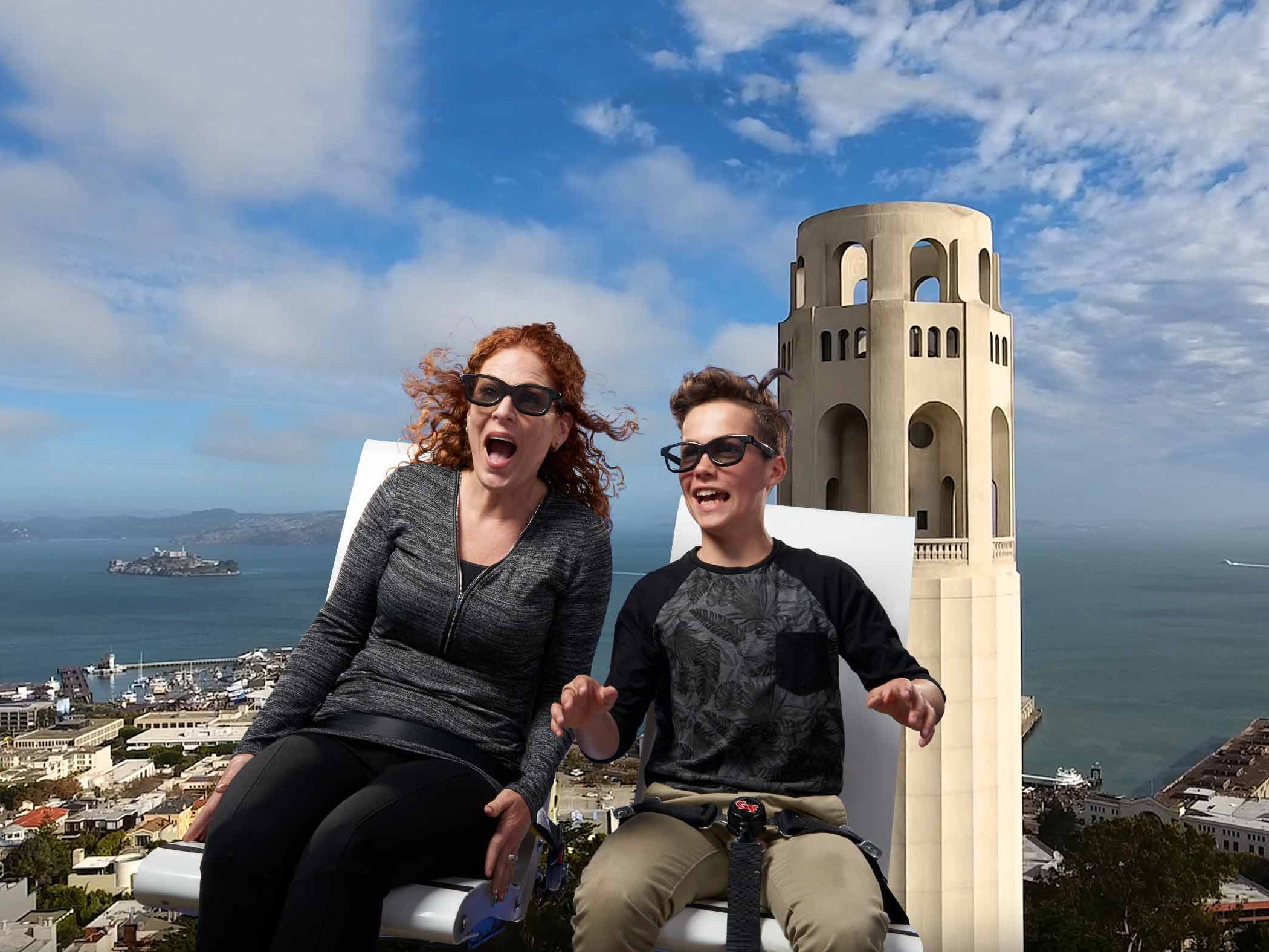The success of Disney's Soarin' has inspired The Flyer — San Francisco, which takes visitors on a tour of the Golden Gate Bridge, Alcatraz and more.