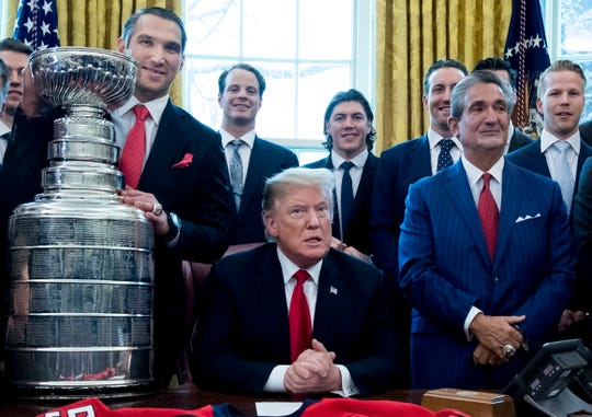 President Donald Trump welcomes the Washington Capitals to the White House's Oval Office.