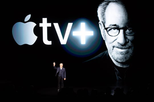 Director Steven Spielberg speaks during an event launching Apple tv+ at Apple headquarters.