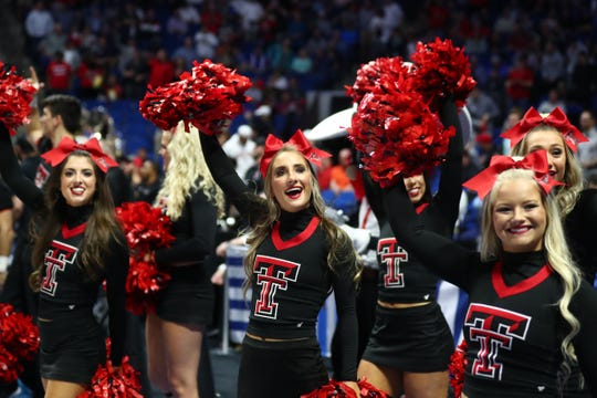 Round of 32: Texas Tech Red Raiders cheerleaders perform before the game against the Buffalo Bulls.
