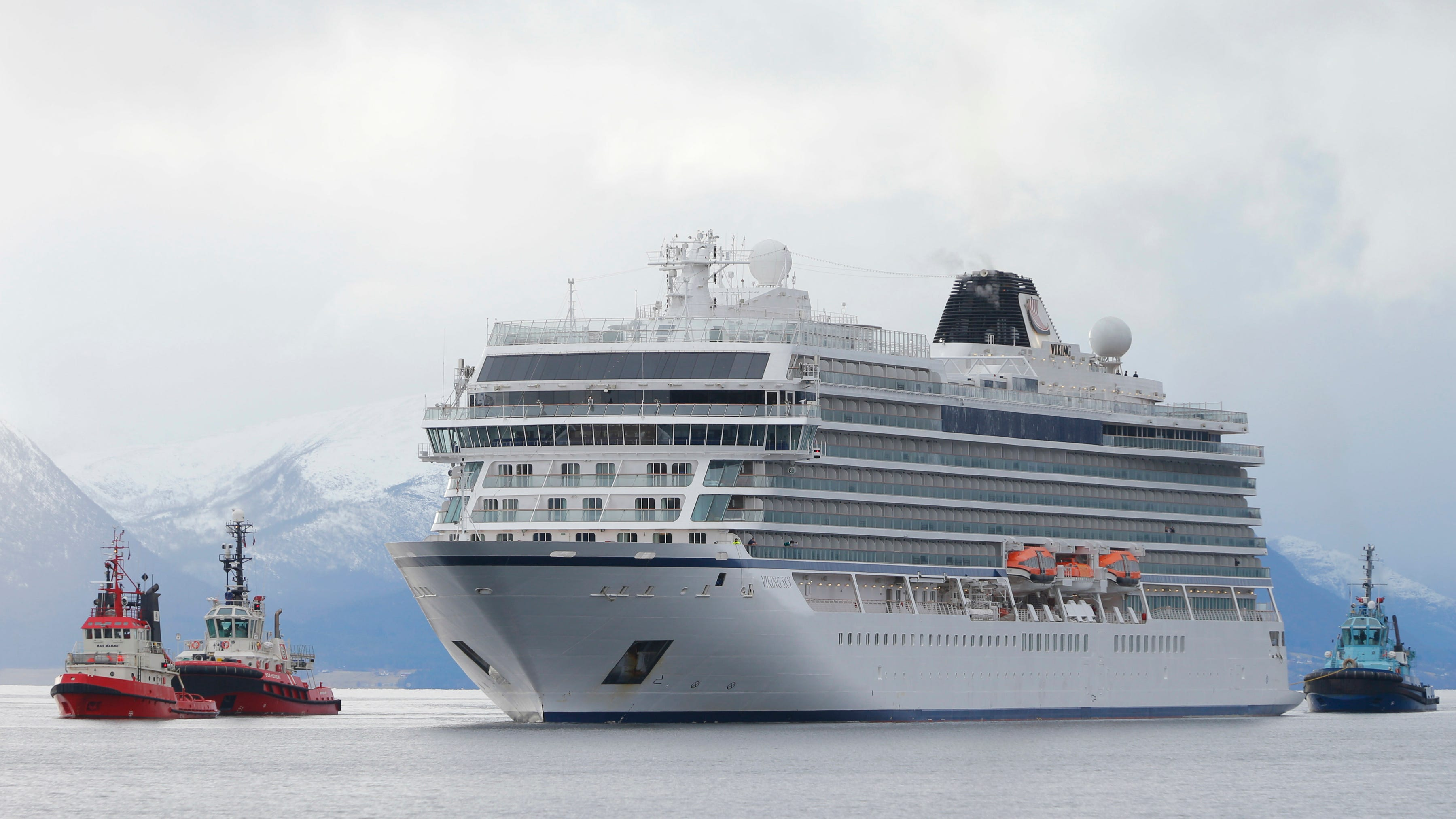 The cruise ship Viking Sky arrives at port off Molde, Norway, March 24, 2019, after engine problems in heavy seas off Norway's western coast.