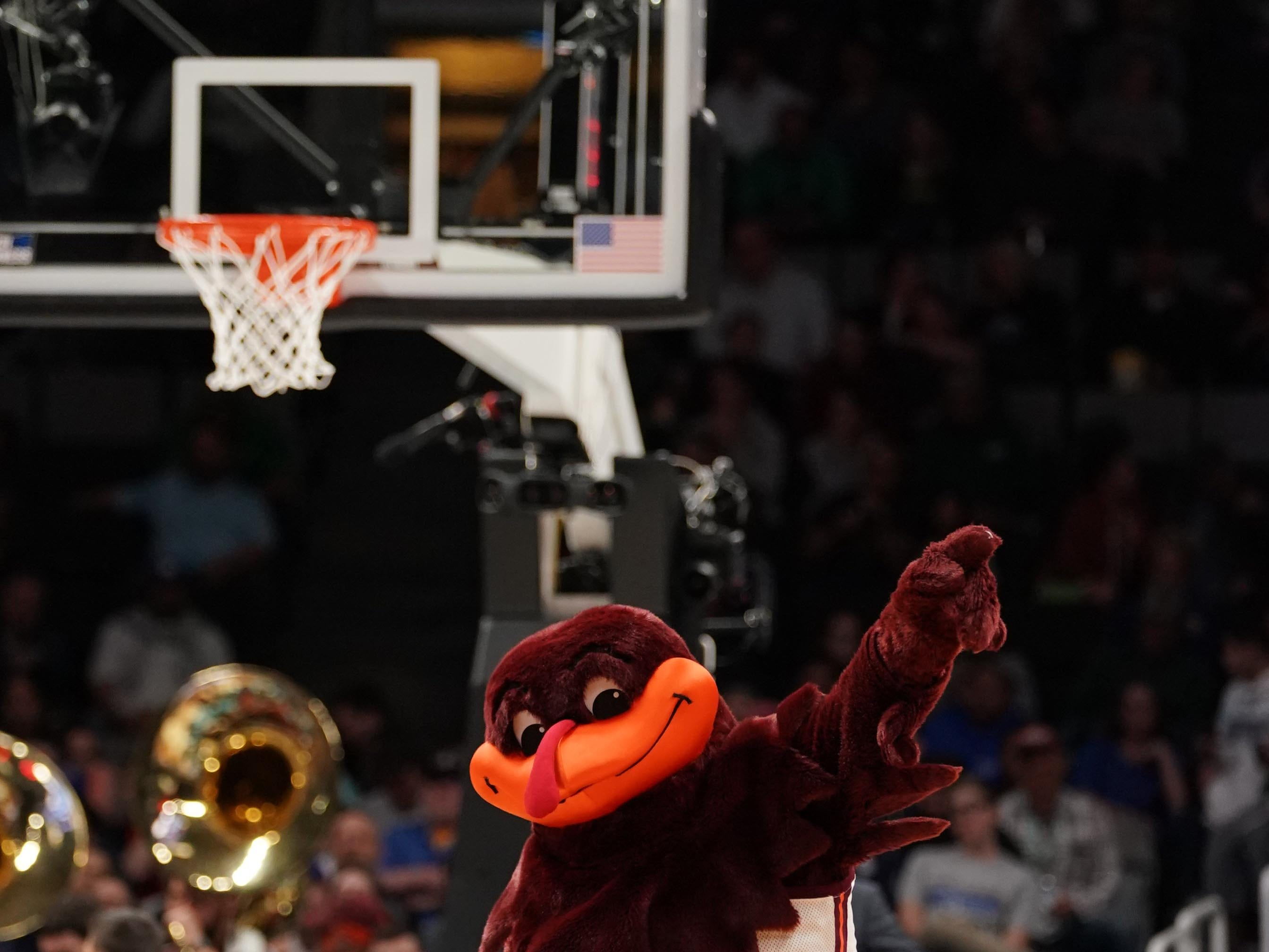 Round of 32: The Virginia Tech Hokies mascot performs during the first half.