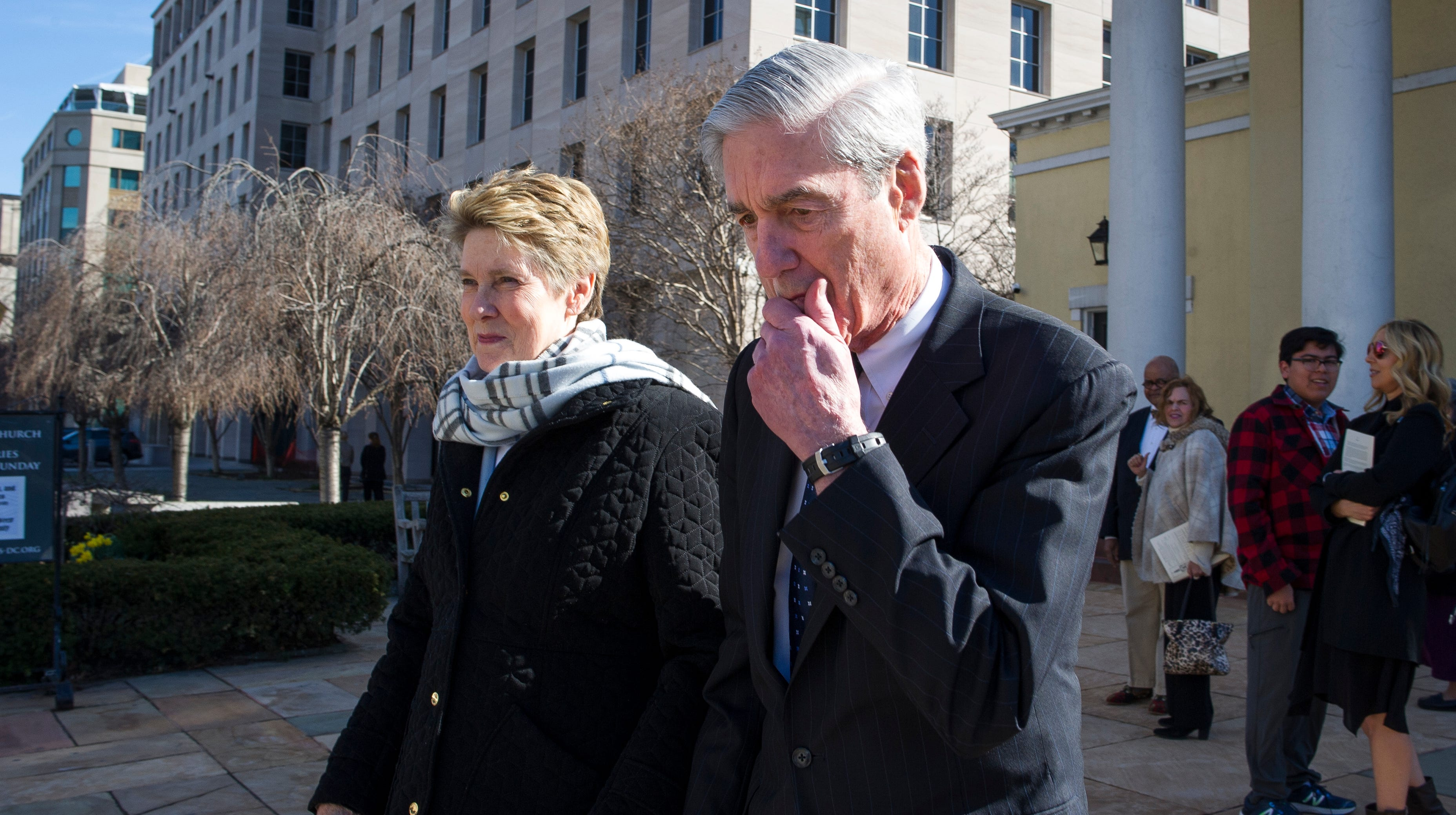 Special counsel Robert Mueller and his wife, Ann, at a church across from the White House on March 24, 2019.