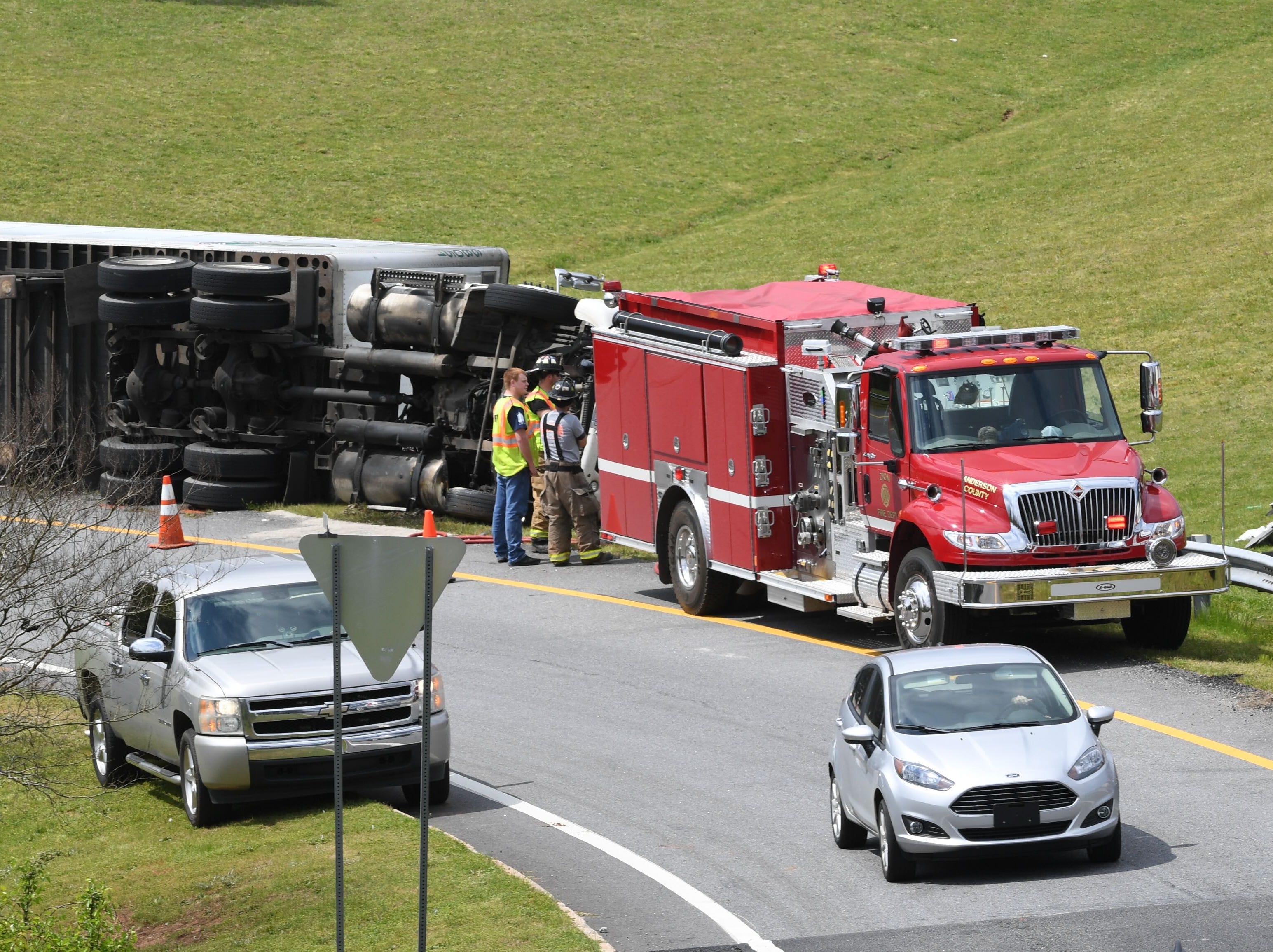 A crash involving a tractor-trailer blocks Interstate 85 ramp near Clemson Boulevard in Anderson County on Tuesday, March 26, 2019.