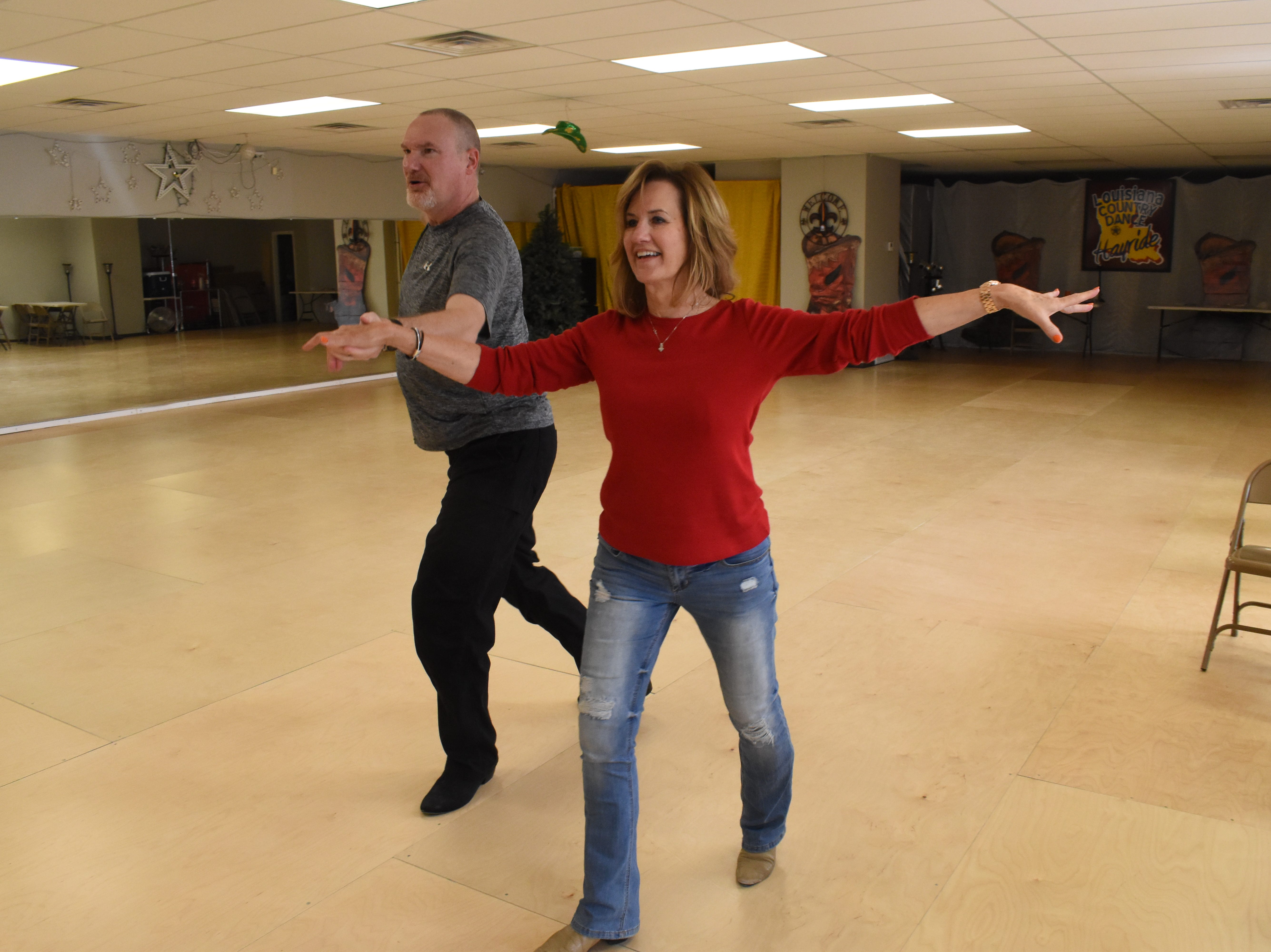 Lucky Stars Dance Studio dancers Carlyss Ducote and Bob Clanton practice a dance routine. The dancers will compete in the Louisiana Country Dance Hayride set for May 2-5 at the Best Western in Alexandria. This will be the 12th year the Louisiana Country Dance Hayride has been on the American Country Dance Association circuit. For more information about their events, visit www.lacountrydancehayride.com or the Louisiana Country Dance Hayride Facebook page.