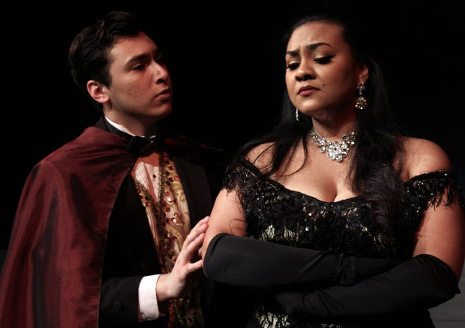 "Count Danilo Danilovitch (Aaron Dominguez) sings to Hanna Glawari (Serayah Peters), the merry widow in a rehearsal scene from Hardin-Simmons' musical production of ""The Merry Widow."" Peters performs Thursday and Saturday."