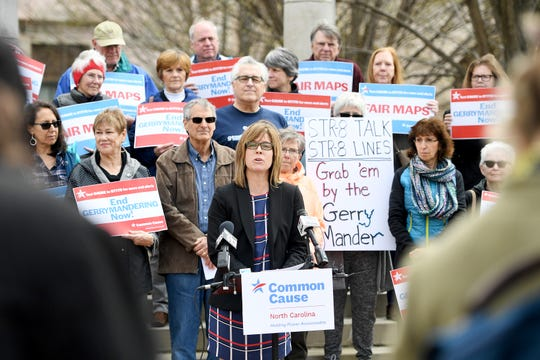 Asheville Mayor Esther Manheimer speaks out against gerrymandering during a press conference in Pack Square Park on March 26, 2019. The conference came on the same day as a hearing of the Rucho vs. Common Cause case by the U.S. Supreme Court.