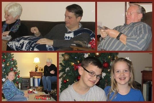 Top from left: Ned's daughter-in-law, Shannon and son, Joel; Ned Seachrist. Bottom right: grandchildren Jacob and Lily.