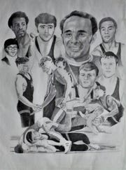 Lee Thornhill now earns money by selling sketches, including this one featuring former UW wrestling coach Jim Smith and former SK wrestling coach Lyle Ballew, second from top right.