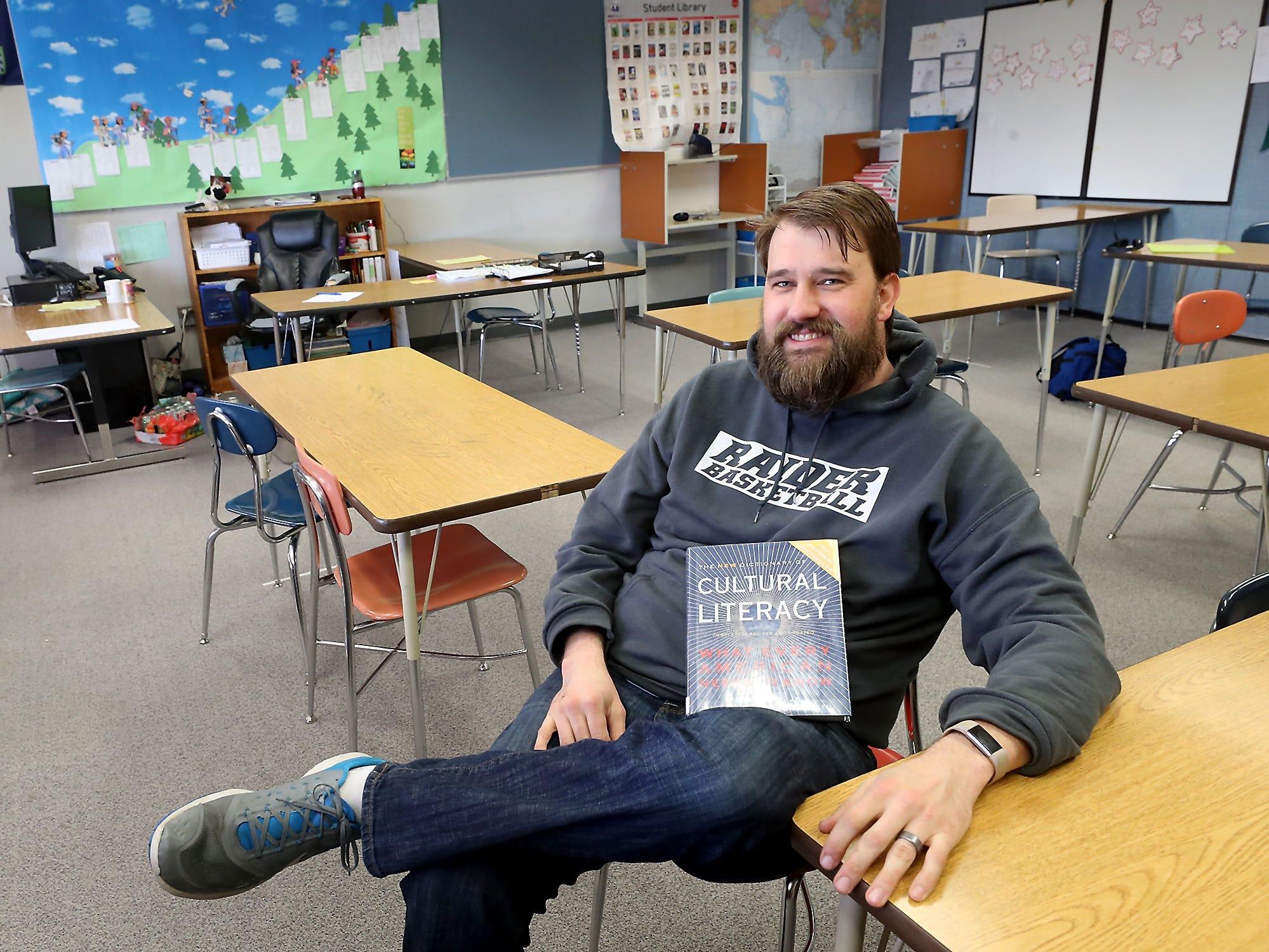 Ridgetop Middle School teacher Joe Rengstorf in his classroom on Tuesday, March 26, 2019.