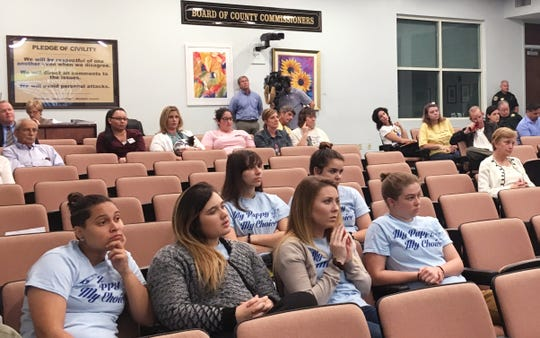 This group from Hillsborough County who with the My Puppy, My Choice campaign, which said supports fair regulation of pet stores, and oversight of breeders, rescues, and shelters, instead of banning pet stores, attended the County Commission meeting on Tuesday.