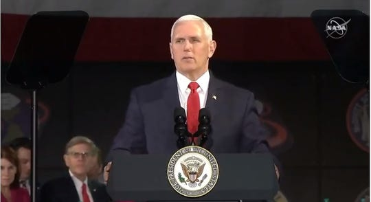 Addressing the National Space Council on Tuesday in Huntsville, Alabama, Vice President Mike Pence said NASA's new goal is to land astronauts on the moon by 2024.