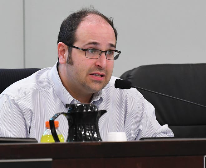 The Brevard County Commission meeting during the pet sale regulations issue proposed by Vice Chair Bryan Lober, seen here, to better regulate the sale of cats and dogs in Brevard pet stores.