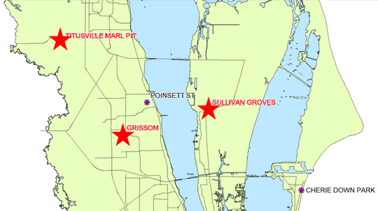 Shown here are two pieces of unused land owned by the district, labeled Grissom in Cocoa and Sullivan Groves on Merritt Island.