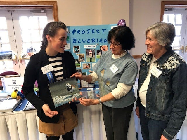 Ohio Young BirderAnna Rose (left) talks with Mary LeeMinor and Cheryl Corney at the Ohio Bluebird Conference March 9 in Ashland. The Earth, Wind and Flowers Garden Club was a sponsor.