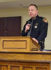 Crawford County Sheriff Scott Kent speaks in support of the jail income tax during a candidates night Monday at the Bucyrus Public Library.