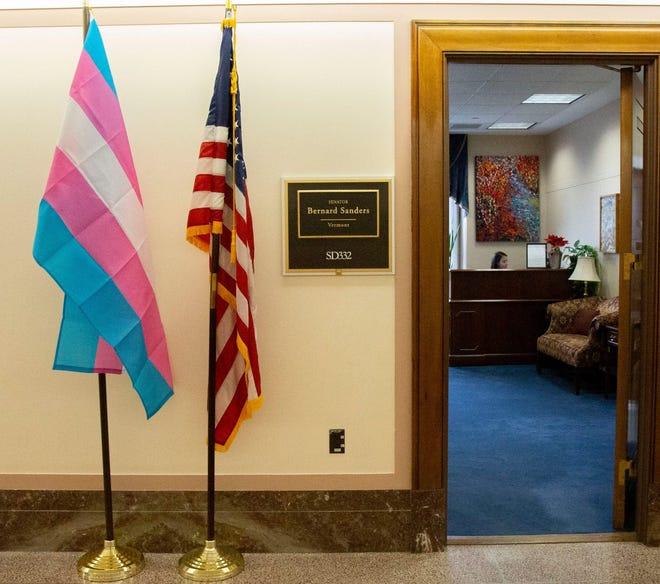 A transgender pride flag hangs outside Sen. Bernie Sanders Washington, D.C. office.