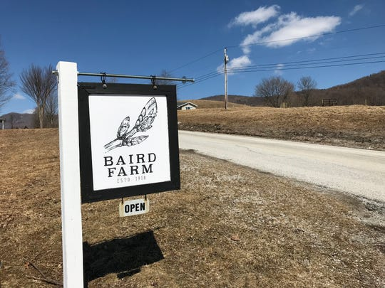 A sign welcomes people to the Baird Farm in North Chittenden, Vermont, where maple syrup is produced. March 20, 2019.