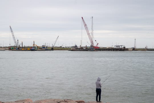 Roberts Point Park in Port Aransas across the ship channel from Harbor Island on Wednesday, March 21, 2019. The Port of Corpus Christi has proposed a multi-billion dollar project for an oil terminal on Harbor Island.