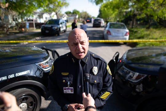 Corpus Christi Police Chief Mark Markle gives a statement as after an officer-involved shooting on the 200 block of Torreon Street on Tuesday, March 26, 2019.
