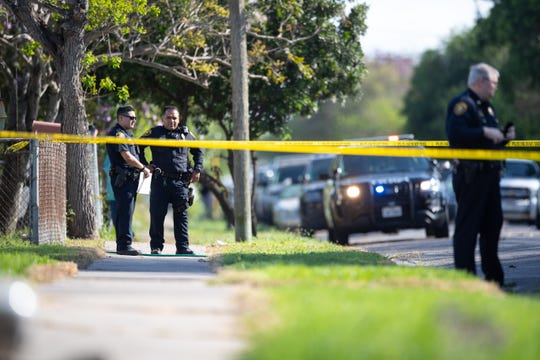 Corpus Christi police investigate an officer-involved shooting on the 200 block of Torreon Street on Tuesday, March 26, 2019.
