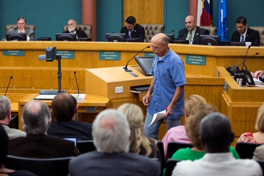John Panek, a Portland resident, spoke out against the proposed annexation by Corpus Christi of San Patricio County land during public comment at city council on Tuesday, March 26, 2019.