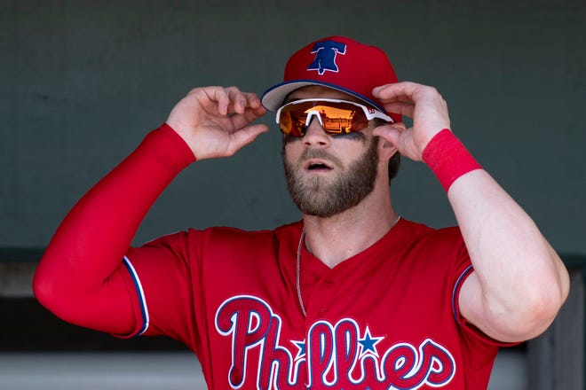 Philadelphia Phillies outfielder Bryce Harper (3) is set to make his official team debut on Thursday.