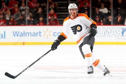 Michael Raffl has six goals and 18 points in 61 games this season.