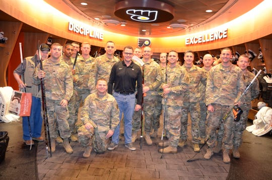 Troops from Fort Dix Army base in Burlington County paid the Flyers and interim coach Scott Gordon a visit on Tuesday.