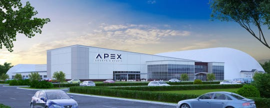 An architectural rendering of the Apex sports center, expected to open this fall in Hillsborough.