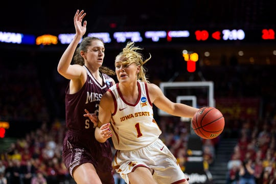 Iowa State's Madison Wise tries to get to the hoop during the NCAA Tournament second-round match-up between Iowa State and Missouri State on Monday, March 25, 2019, in Hilton Coliseum, in Ames, Iowa.