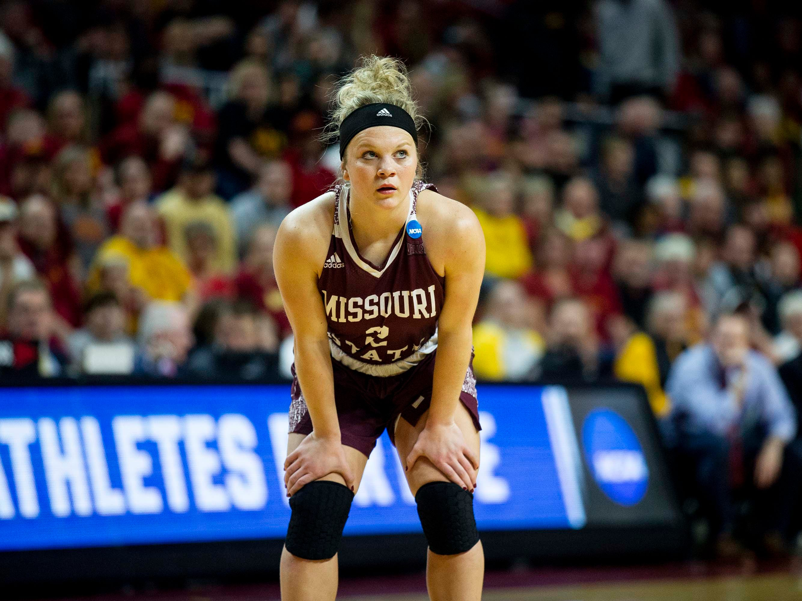 Missouri State's Elle Ruffridge watches the ball during the NCAA Tournament second-round match-up between Iowa State and Missouri State on Monday, March 25, 2019, in Hilton Coliseum, in Ames, Iowa.