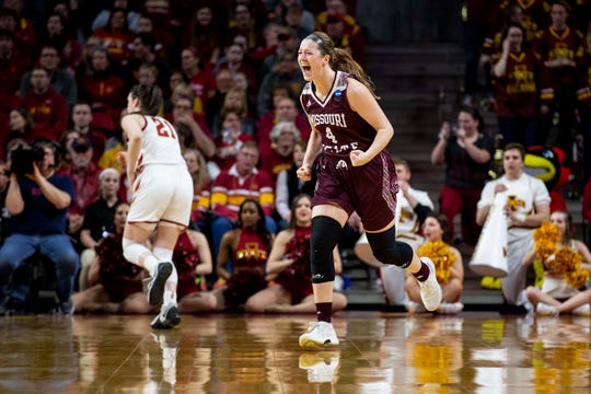 Missouri State's Abby Hipp celebrates after scoring during the NCAA Tournament second-round match-up between Iowa State and Missouri State on Monday, March 25, 2019, in Hilton Coliseum, in Ames, Iowa.