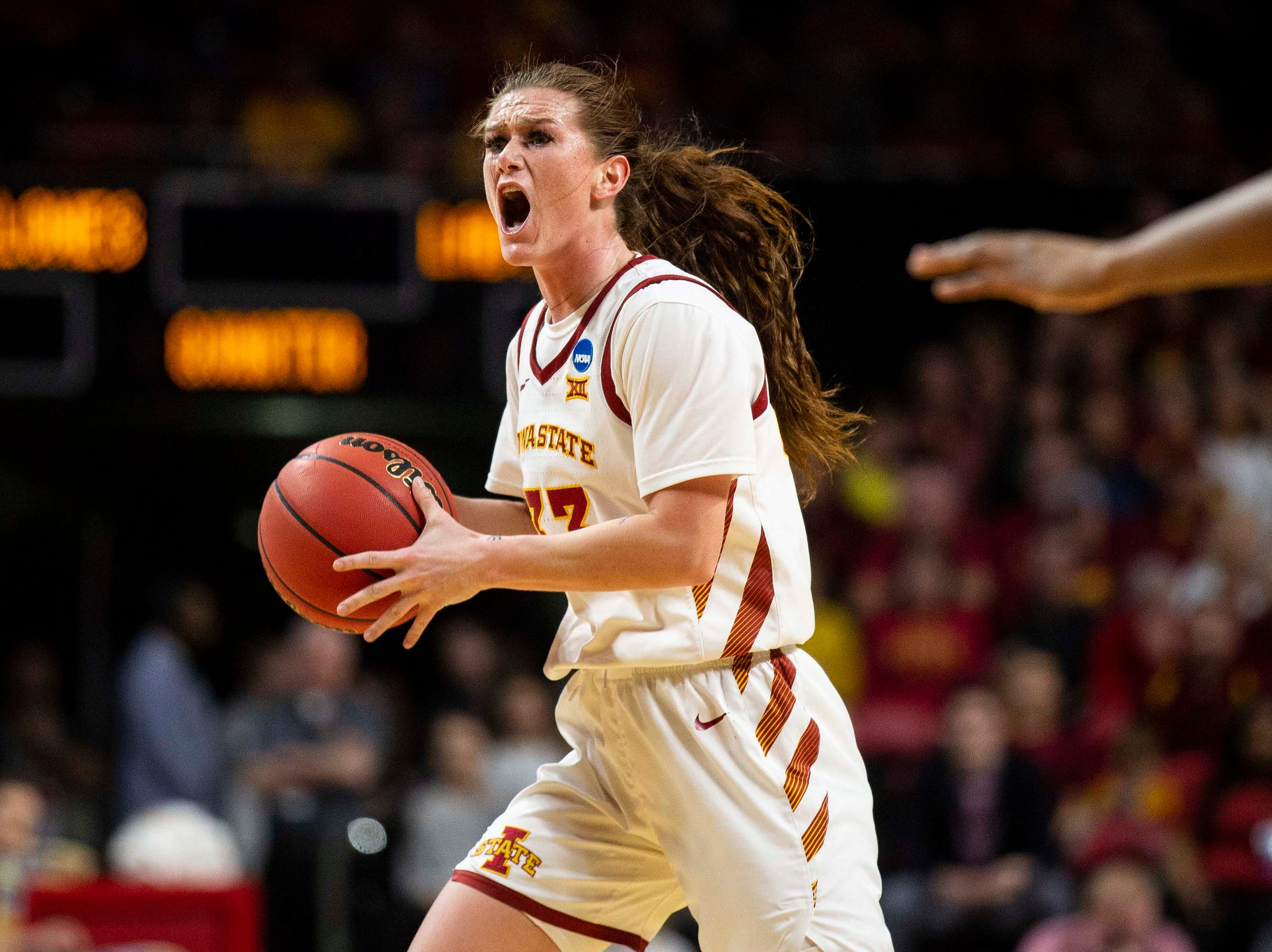 Iowa State's Alexa Middleton calls out a play during the NCAA Tournament second-round match-up between Iowa State and Missouri State on Monday, March 25, 2019, in Hilton Coliseum, in Ames, Iowa.
