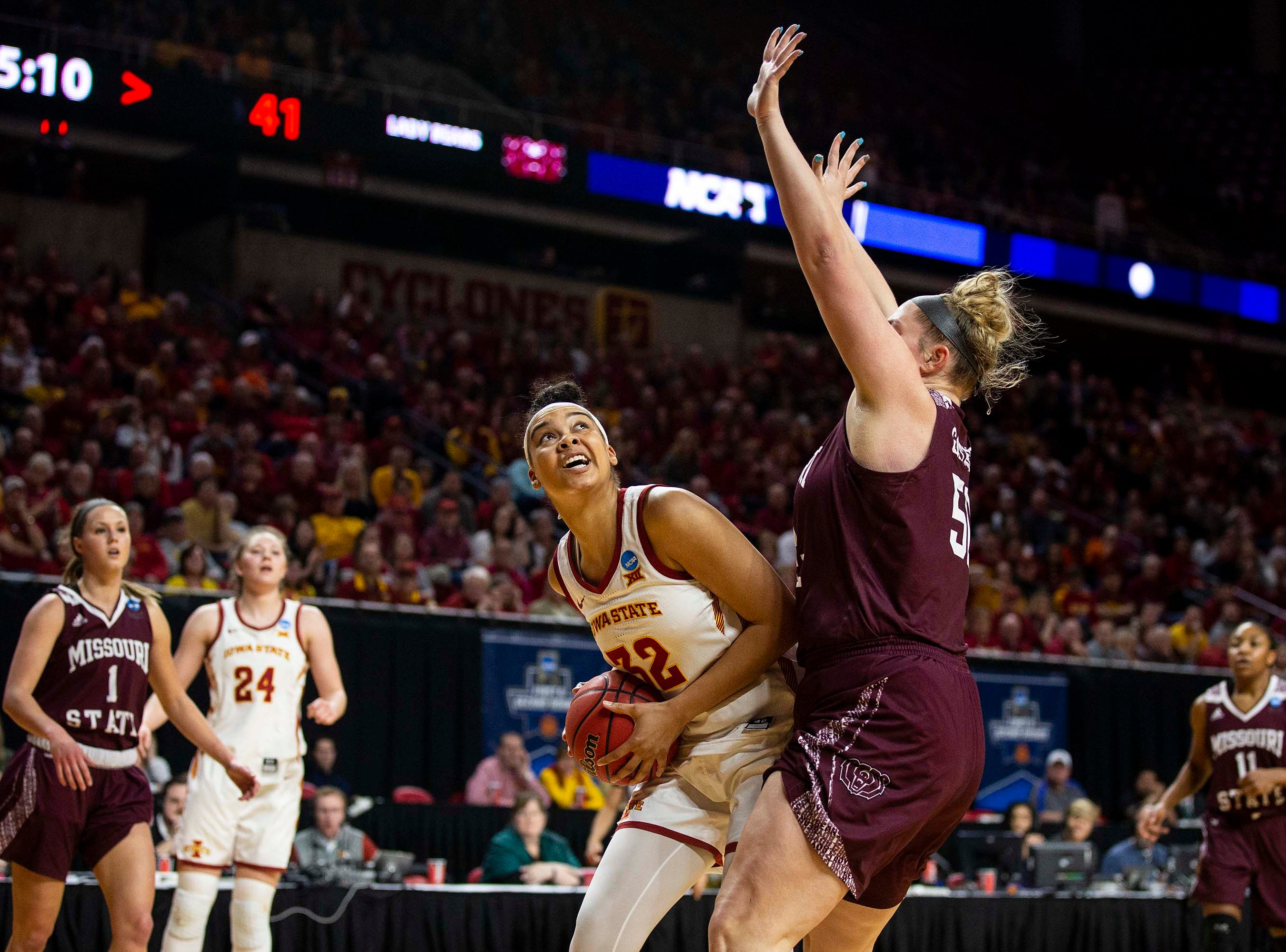 Iowa State's Meredith Burkhall looks to shoot during the NCAA Tournament second-round match-up between Iowa State and Missouri State on Monday, March 25, 2019, in Hilton Coliseum, in Ames, Iowa.
