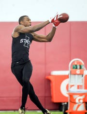 Iowa State receiver Hakeem Butler runs drills for NFL scouts during Iowa State's Pro Day at Bergstrom Football Complex in Ames Tuesday, March 26, 2019.