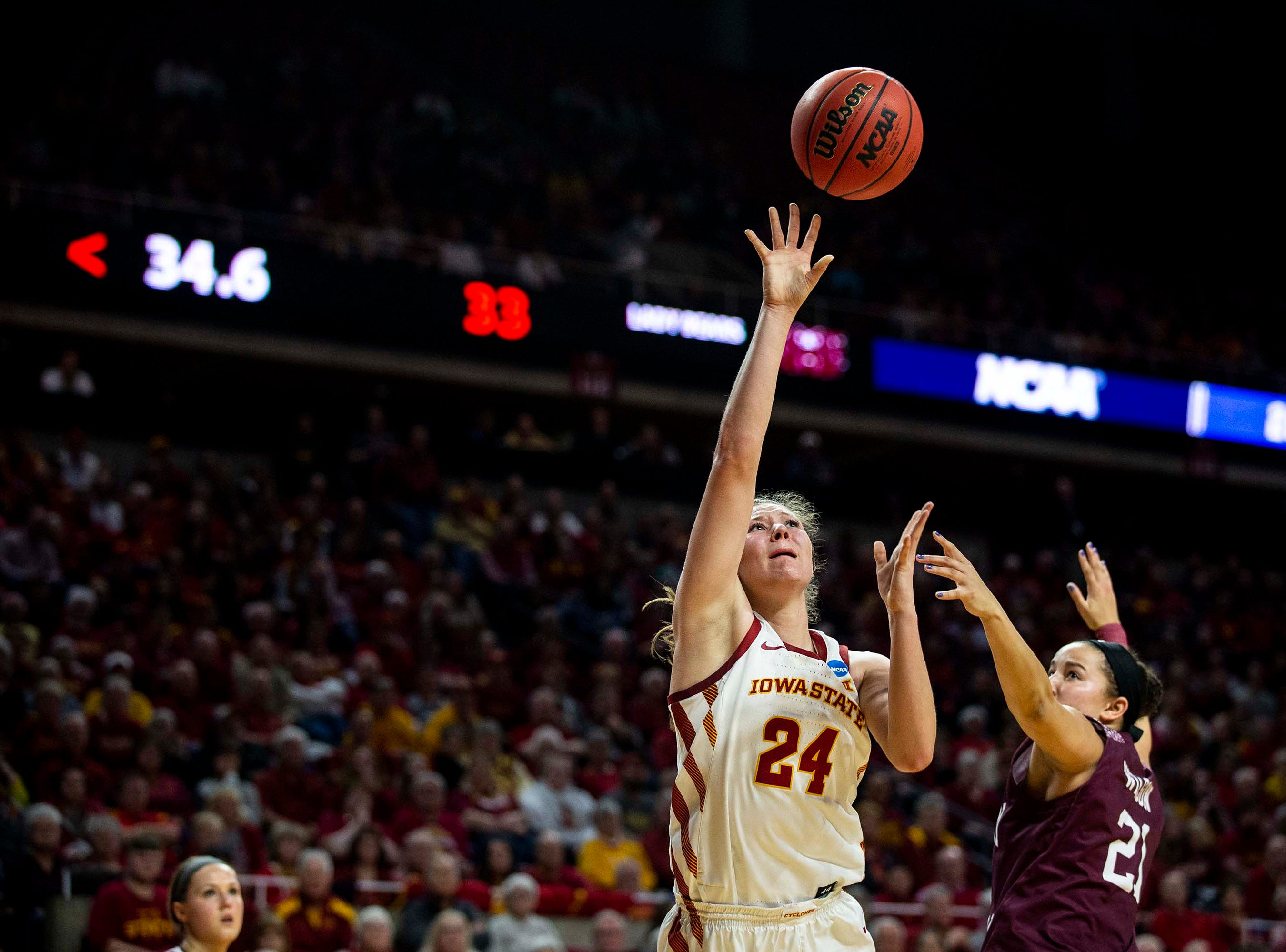 Iowa State's Ashley Joens shoots the ball during the NCAA Tournament second-round match-up between Iowa State and Missouri State on Monday, March 25, 2019, in Hilton Coliseum, in Ames, Iowa.