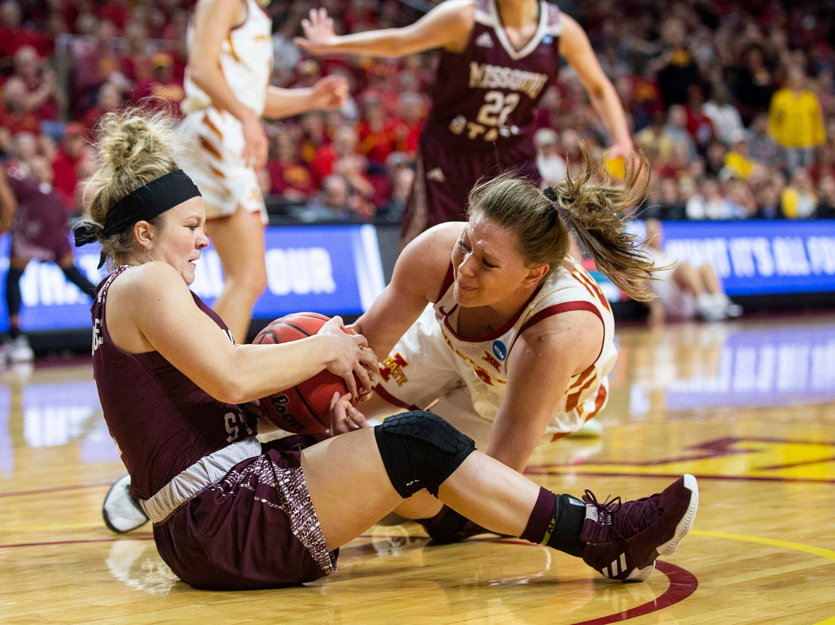Missouri State's Elle Ruffridge and Iowa State's Ashley Joens fight for a jump ball during the NCAA Tournament second-round match-up between Iowa State and Missouri State on Monday, March 25, 2019, in Hilton Coliseum, in Ames, Iowa.