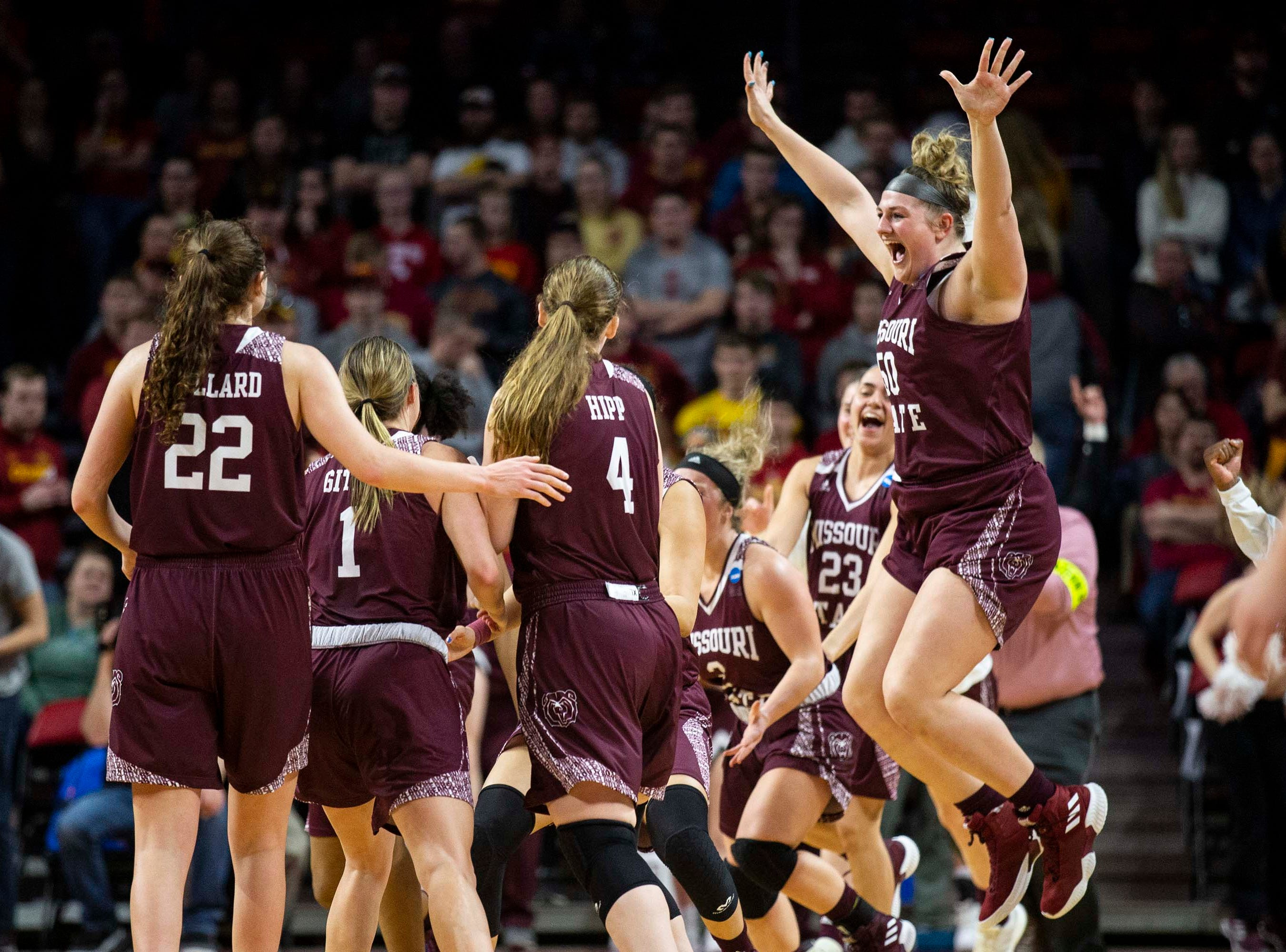 Missouri State celebrates after winning the NCAA Tournament second-round match-up between Iowa State and Missouri State on Monday, March 25, 2019, in Hilton Coliseum, in Ames, Iowa.