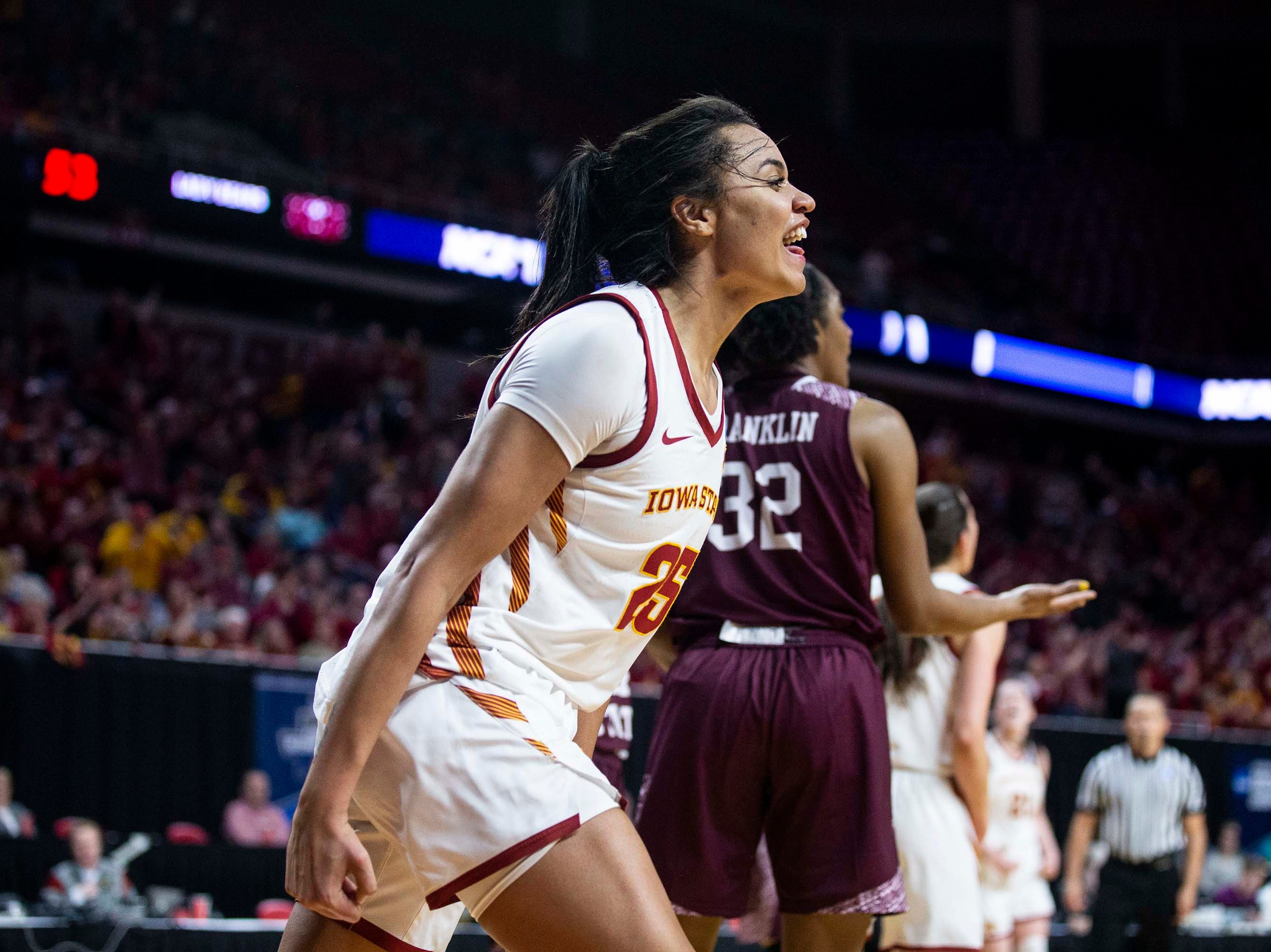 Iowa State's Kristin Scott celebrates after scoring during the NCAA Tournament second-round match-up between Iowa State and Missouri State on Monday, March 25, 2019, in Hilton Coliseum, in Ames, Iowa.