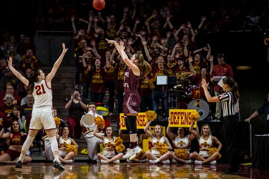 Missouri State's Abby Hipp shoots the ball during the NCAA Tournament second-round match-up between Iowa State and Missouri State on Monday, March 25, 2019, in Hilton Coliseum, in Ames, Iowa.