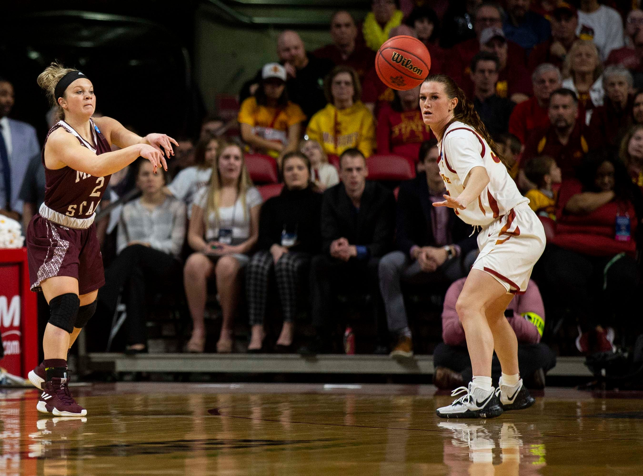 Missouri State's Elle Ruffridge makes a pass during the NCAA Tournament second-round match-up between Iowa State and Missouri State on Monday, March 25, 2019, in Hilton Coliseum, in Ames, Iowa.