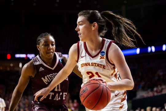 Iowa State's Bridget Carleton drives to the hoop during the NCAA Tournament second-round match-up between Iowa State and Missouri State on Monday, March 25, 2019, in Hilton Coliseum, in Ames, Iowa.