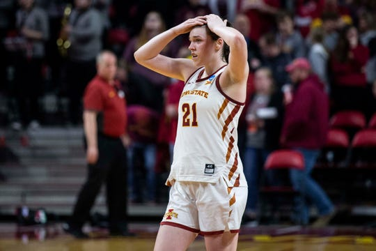 Iowa State's Bridget Carleton tears up after her team lost the NCAA Tournament second-round match-up between Iowa State and Missouri State on Monday, March 25, 2019, in Hilton Coliseum, in Ames, Iowa.
