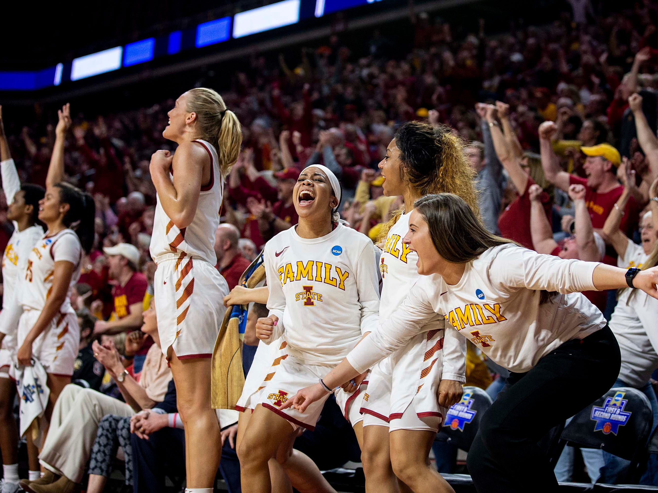 Iowa State players cheer after scoring during the NCAA Tournament second-round match-up between Iowa State and Missouri State on Monday, March 25, 2019, in Hilton Coliseum, in Ames, Iowa.
