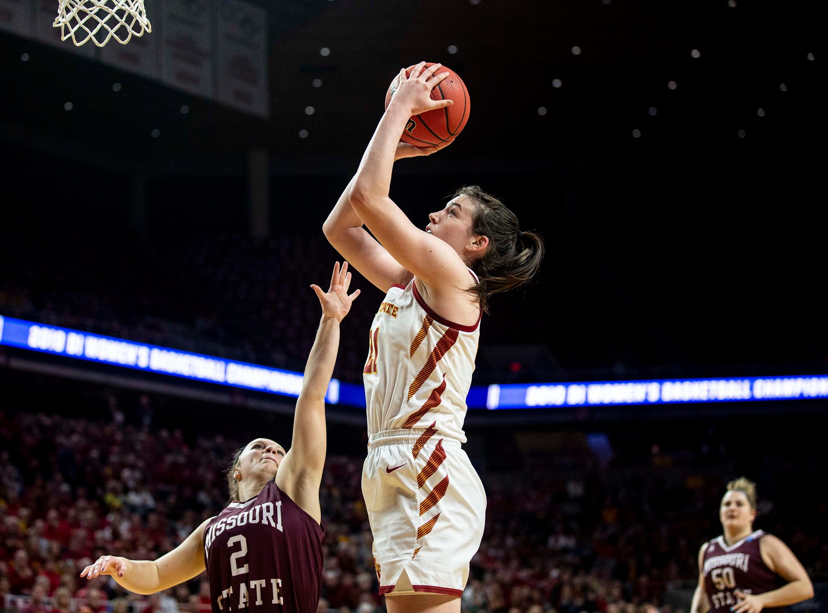 Iowa State's Bridget Carleton shoots the ball during the NCAA Tournament second-round match-up between Iowa State and Missouri State on Monday, March 25, 2019, in Hilton Coliseum, in Ames, Iowa.