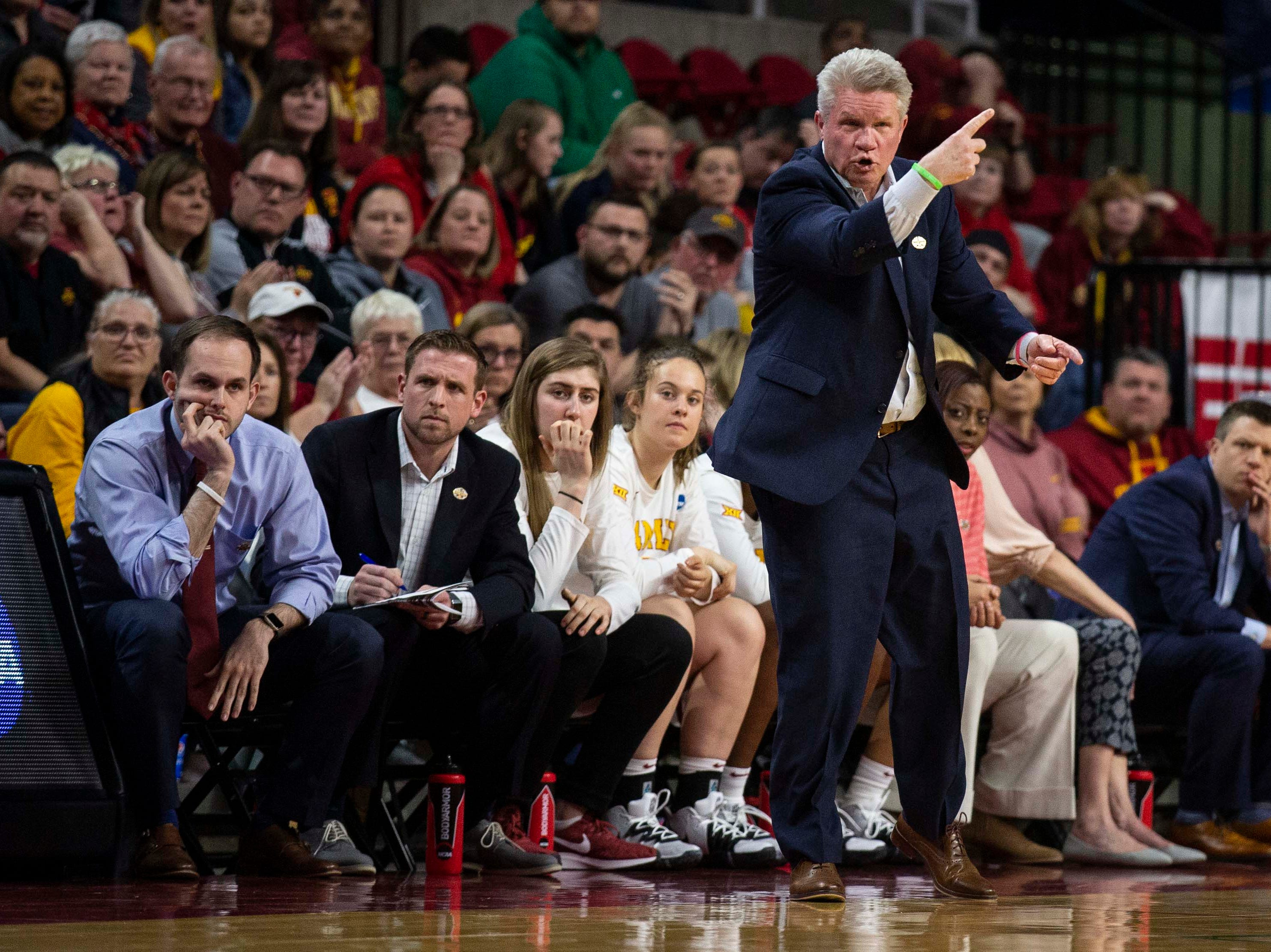 Iowa State Head Coach Bill Fennelly calls out a play during the NCAA Tournament second-round match-up between Iowa State and Missouri State on Monday, March 25, 2019, in Hilton Coliseum, in Ames, Iowa.