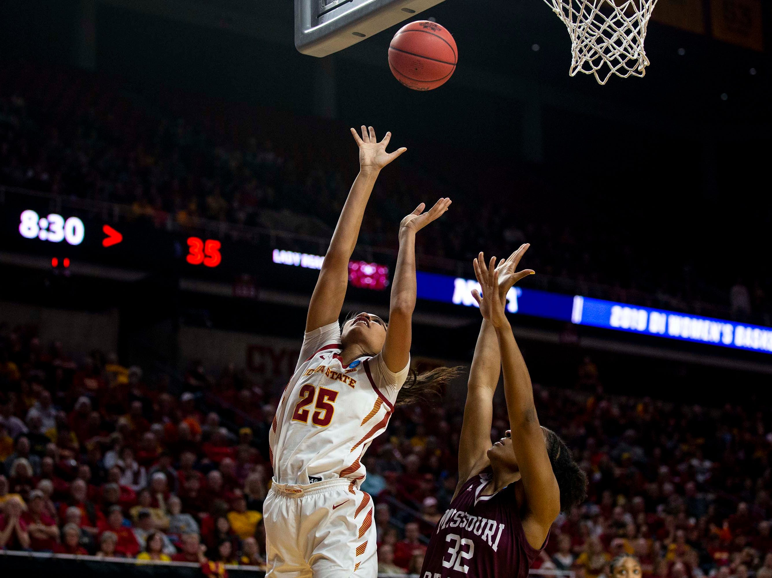 Iowa State's Kristin Scott shoots the ball during the NCAA Tournament second-round match-up between Iowa State and Missouri State on Monday, March 25, 2019, in Hilton Coliseum, in Ames, Iowa.